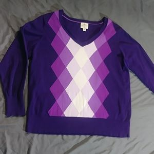 Purple Preppy V-Neck Sweater 2X